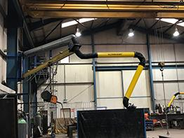 Our UK distributor A-mac installed 5 Plymovent KUA-4 extraction arms, secured to an extension boom that was fabricated by AJ Engineering themselves.