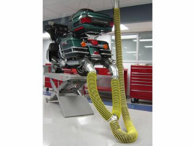 Capture vehicle exhaust gases at source from motorcycles, all terrain vehicles and other small engine vehicles.