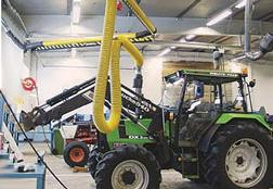Capture vehicle exhaust gases at source from agricultural vehicles as tractors and combines.