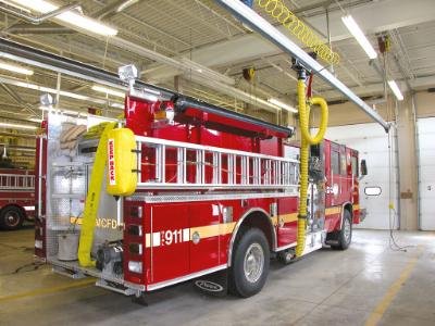 Eliminate hazardous diesel exhaust from your fire station with a Plymovent vehicle exhaust capture and removal system.