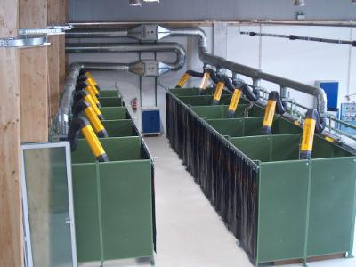 Multiple arms system for welding booths in a welding school.
